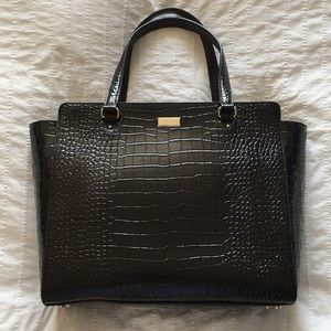 NWOT Kate Spade Black Croc-Embossed Bristol Dr Bag